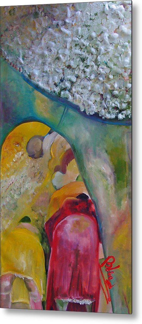 Cotton Metal Print featuring the painting Fields Of Cotton by Peggy Blood