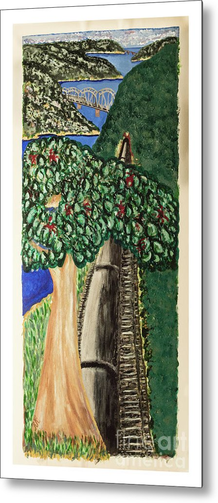 River Scene Metal Print featuring the painting Hawkesbury's River-train. by Rosie's Art