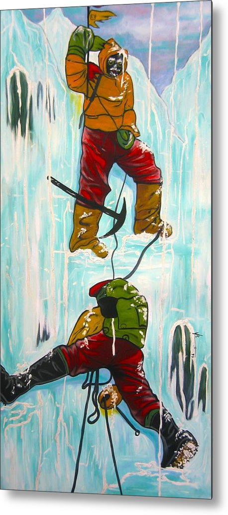 Abstract Sports Metal Print featuring the painting Ice Climbers by V Boge