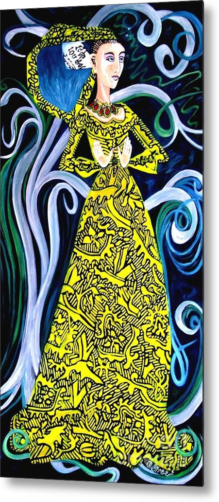Figurative Metal Print featuring the painting Lady Lou by Caroline Street