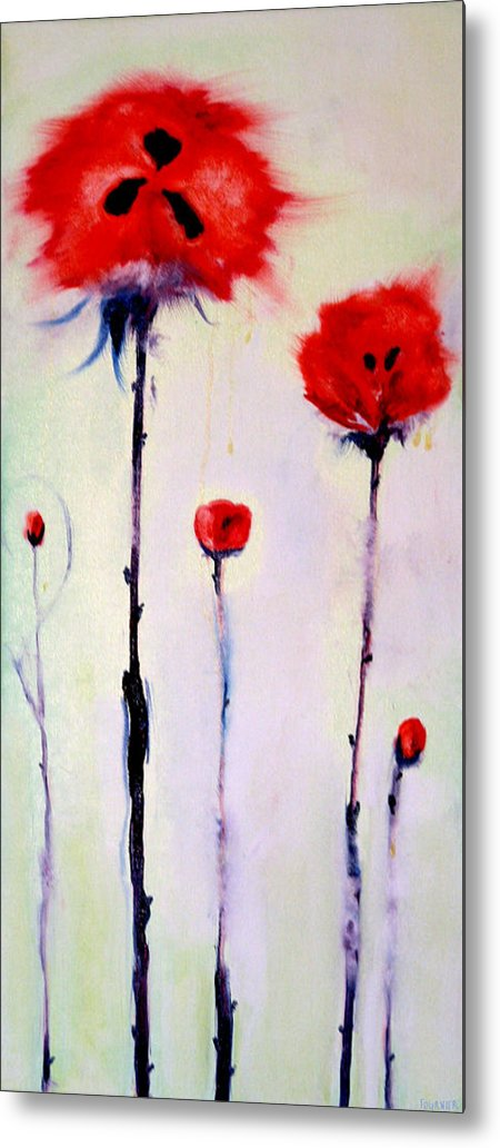 Poppies Metal Print featuring the painting Poppy Family by Jenna Fournier