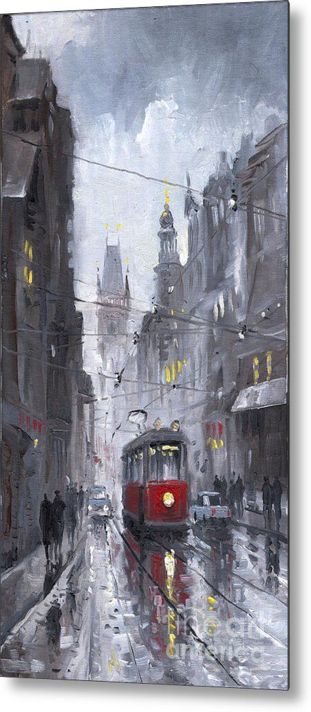 Oil On Canvas Metal Print featuring the painting Prague Old Tram 03 by Yuriy Shevchuk