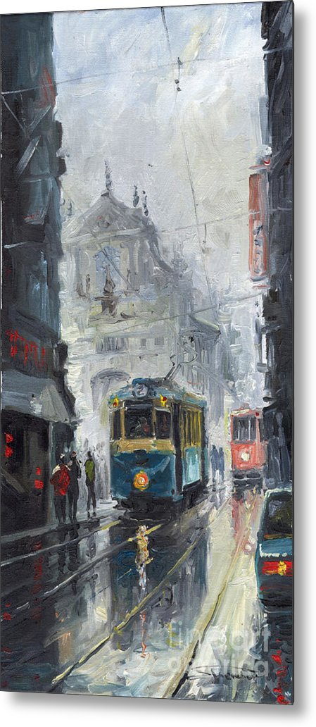 Oil On Canvas Metal Print featuring the painting Prague Old Tram 04 by Yuriy Shevchuk