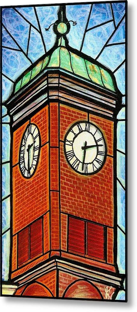 Clocks Metal Print featuring the painting Staunton Clock Tower Landmark by Jim Harris