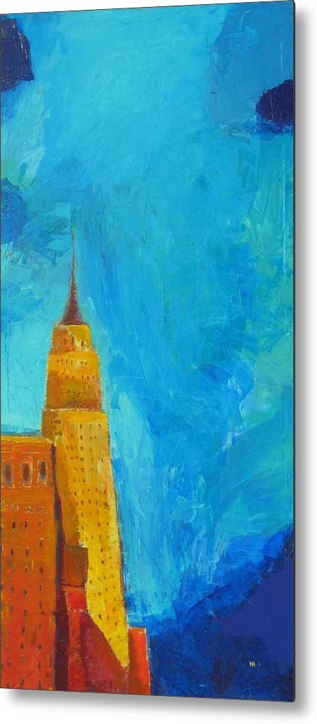 Abstract Cityscape Metal Print featuring the painting The Empire State by Habib Ayat