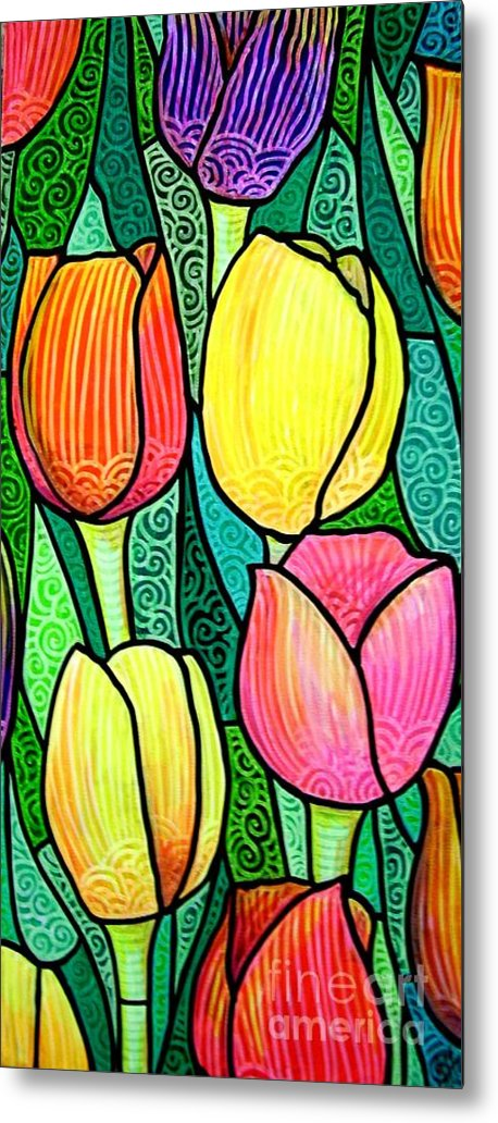 Tulips Metal Print featuring the painting Tulip Expo by Jim Harris