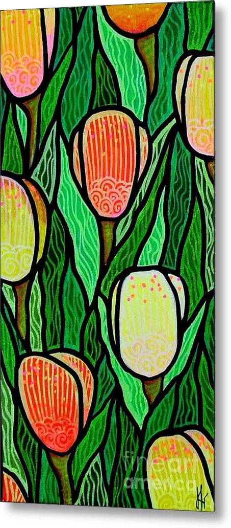 Tulips Metal Print featuring the painting Tulip Joy 2 by Jim Harris