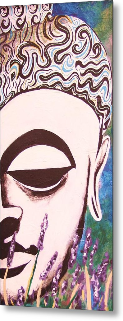 Buddha Metal Print featuring the painting Lavender Buddha Part Two by Kevin J Cooper Artwork