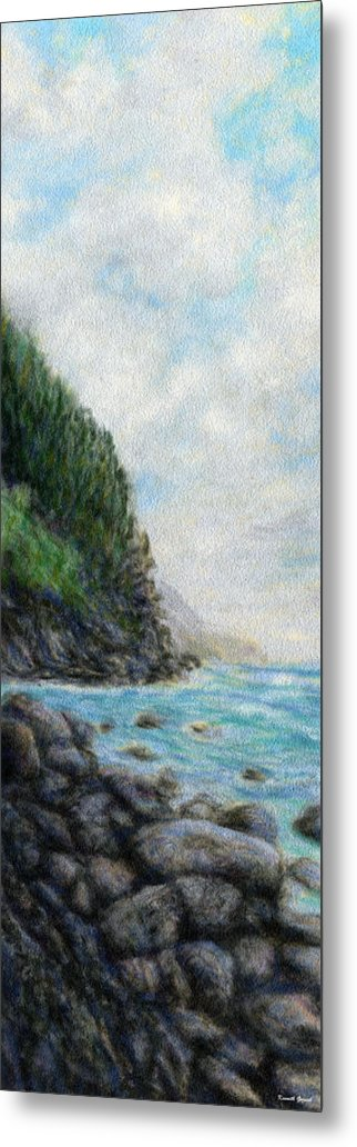 Rainbow Colors Pastel Metal Print featuring the painting Ke'e Rocks by Kenneth Grzesik