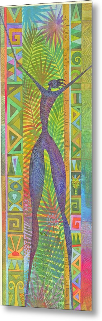 Tropical Spiritual Exotic Joy Figure Patterns Metal Print featuring the painting Oh What Joy by Jennifer Baird