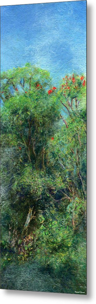 Rainbow Colors Pastel Metal Print featuring the painting Trees Of Kokee by Kenneth Grzesik