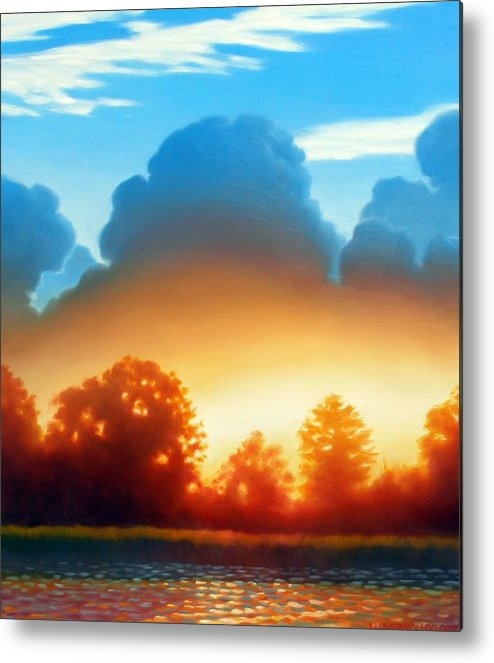 Sunset Metal Print featuring the painting Glowing by Kevin Lawrence Leveque