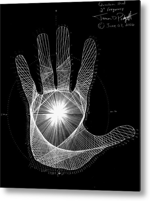 Hand Metal Print featuring the drawing Quantum Hand Through My Eyes by Jason Padgett