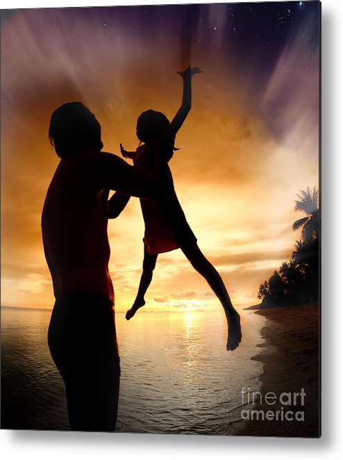 Active Metal Print featuring the photograph Silhouette Family Of Child Hold On Father Hand by Anek Suwannaphoom