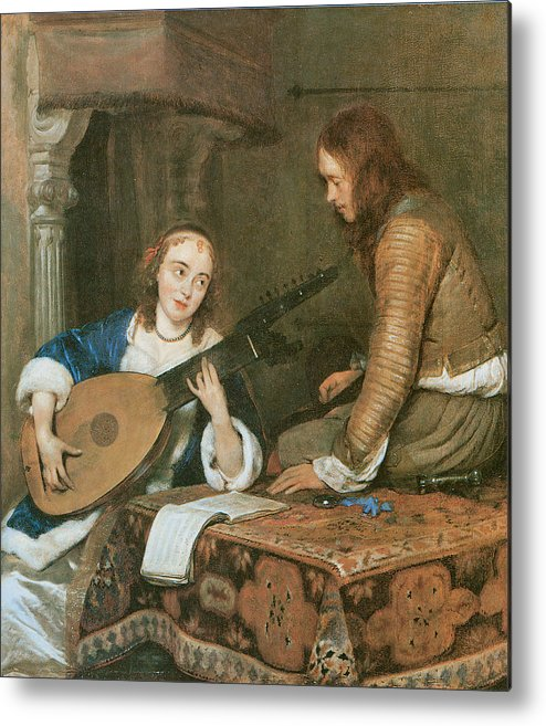 Gerard Terborch Metal Print featuring the painting A Woman Playing The Theorbo-lute And A Cavalier by Gerard Terborch