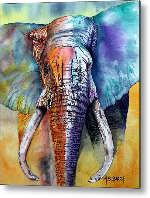 Elephant Metal Print featuring the painting Alpha by Maria Barry