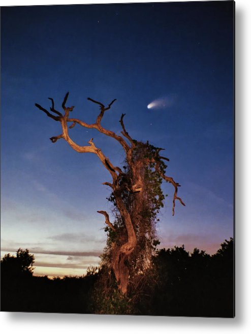 Astrophotography Metal Print featuring the photograph Comet Catcher. Lake Gentry. by Chris Kusik