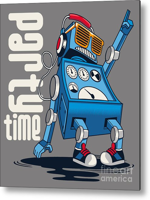 Decorate Metal Print featuring the digital art Cute Vintage Dancer Robot, Party, Vector by Braingraph