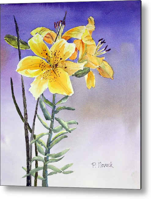 Lily Metal Print featuring the painting Daylilies by Patricia Novack