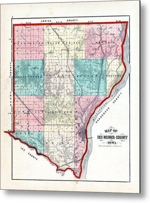 Iowa, 1873, County Map, Des Moines County Metal Print on rock valley map, tribune map, iowa map, plattsmouth map, renton map, carroll map, audubon county map, winterset map, thurmont map, south bellevue map, omaha map, simsbury map, felida map, aurelia map, mirrormont map, wilmington international airport map, spokane falls map, northeast tacoma map, adair map, united states map,