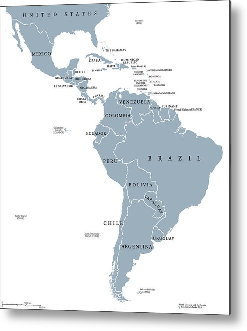 Latin America Countries Political Map Metal Print by ...