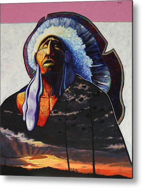 Native American Metal Print featuring the painting Make Me Worthy by Joe Triano