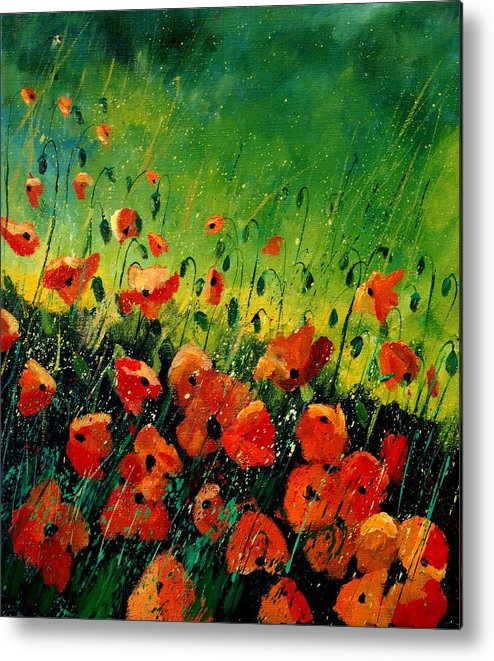 Poppies Metal Print featuring the painting Orange Poppies by Pol Ledent