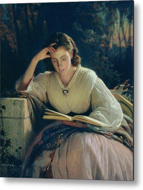 Female Metal Print featuring the painting Reading by Ivan Nikolaevich Kramskoy