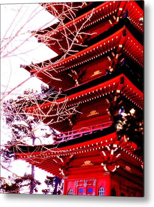 Architecture; Pagoda; San Franciso; California; Travel; Still Lifes; Fine Art. Metal Print featuring the photograph Red Pagoda by Robert Rodvik
