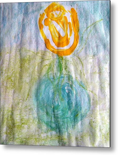Orange Metal Print featuring the drawing Rose Vase One by PC Pride