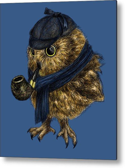 Sherlock Owl Metal Print