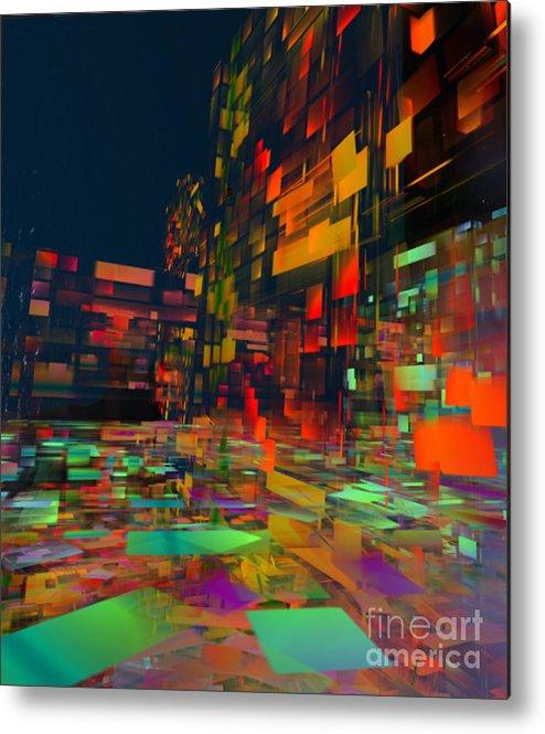 Abstract Metal Print featuring the digital art Squarecity1 by Susanne Baumann
