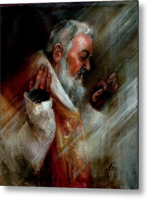 Saints Metal Print featuring the painting Ss Padre Pio At Matins by Elisabeth Nussy Denzler von Botha