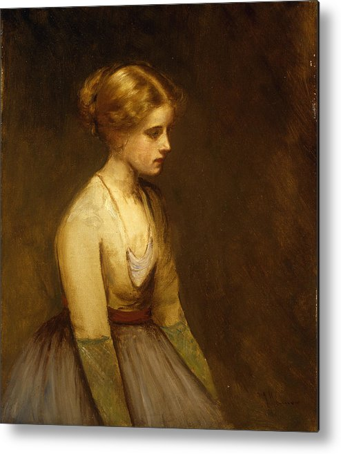 Study; Fair-haired; Beauty; Female; Woman; Girl; Young; Youth; Three-quarter Length; Demure; Modest; Beautiful; Thoughtful; Pensive; Full; Skirt; Brown; Background; Golden; Earthy; Tone; Tones; Shy; Blonde Metal Print featuring the painting Study Of A Fair Haired Beauty by Jean Jacques Henner