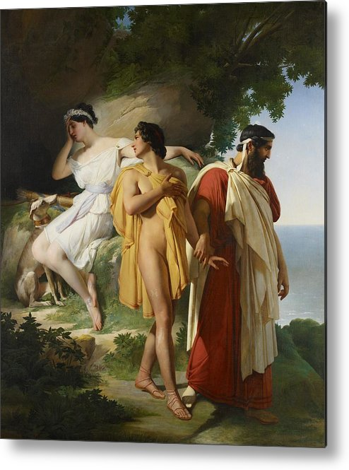 Telemachus; Eucharis; The Adventures Of Telemachus; Odyssey; Literature; Scene; Characters; Greek; Myth; Mythology; Mythological; Legend; Hero; Journey; Love; Lovers; Male; Female; Nymph; Mentor; Young; Innocence; Grief; Tragic; Parting; Parted; Departing; Farewell; Goodbye; Leaving; Leading; Looking Back; Heartbroken; Heartbreak; Romance; Romantic; Classical; Connection; Sorrow; Sad; Sadness; Dog; Pet; Domestic Animal; Landscape; Nude; Drapery; Gesture; Head In Hand;emotion; Emotions; Emotional Metal Print featuring the painting Telemachus And Eucharis by Raymond Quinsac Monvoisin