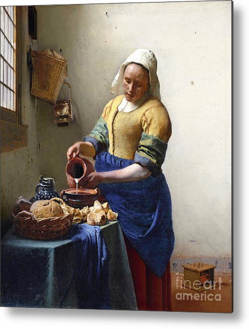 Female Portrait; Kitchen; Scullery; Interior; Bread Basket; Table; Loaf; Bonnet; Servant; Pouring; Milk; Maid; Domestic; Rustic; La Laitiere Metal Print featuring the painting The Milkmaid by Jan Vermeer
