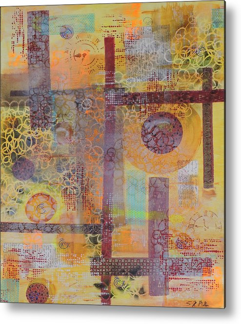 Time Is Ticking Away Metal Print featuring the painting Time Is Ticking Away by Sara Miller