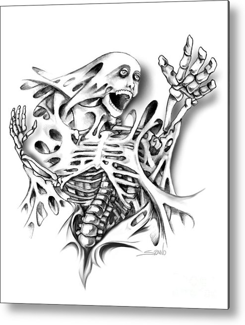 Spano Metal Print featuring the painting Trapped Skeleton By Spano by Michael Spano