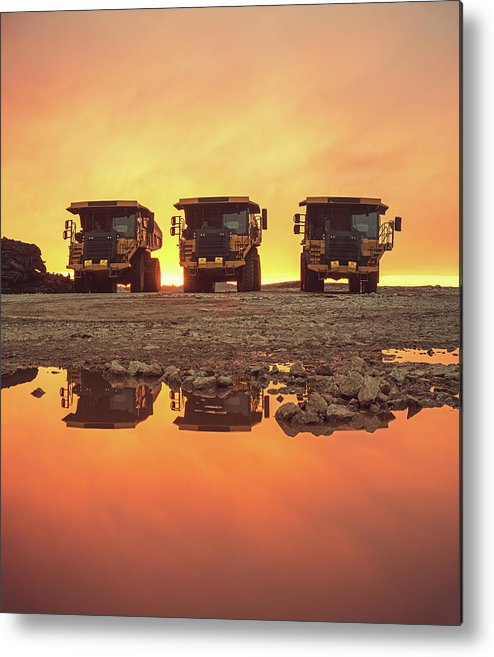 Construction Site Metal Print featuring the photograph Trio Of Trucks by Shaunl