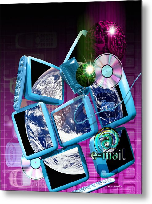 Computer Artwork Metal Print featuring the photograph Global Communication by Victor Habbick Visions