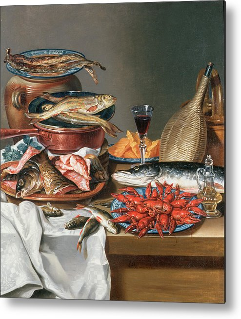 Olive Oil; Tablecloth; Herrings; Plate; Salmon; Filleted Metal Print featuring the painting A Still Life Of A Fish Trout And Baby Lobsters by Anton Friedrich Harms