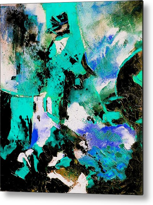 Abstract Metal Print featuring the painting Abstract 690506 by Pol Ledent