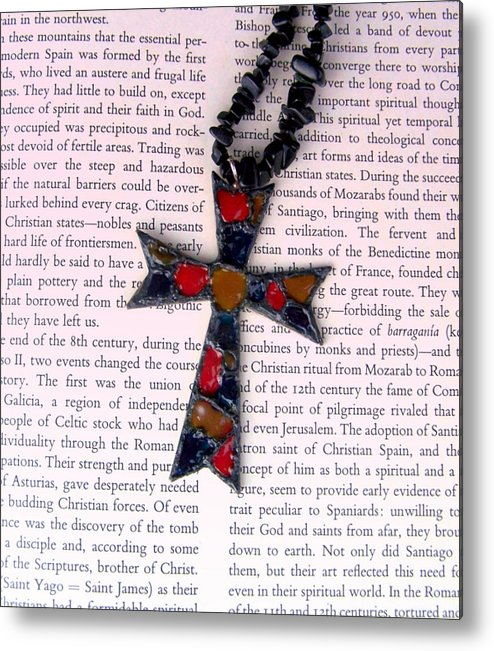 Bible Metal Print featuring the jewelry Christian Cross by Cynthia Amaral