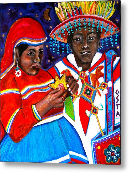 Huichol Indians Metal Print featuring the painting Los Huicholes by Andrew Osta