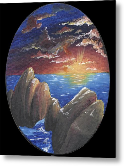 Sun Metal Print featuring the painting Ocean Circle by Diane Peters