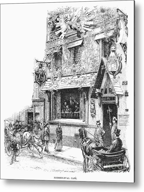 1889 Metal Print featuring the photograph Paris: Cafe, 1889 by Granger