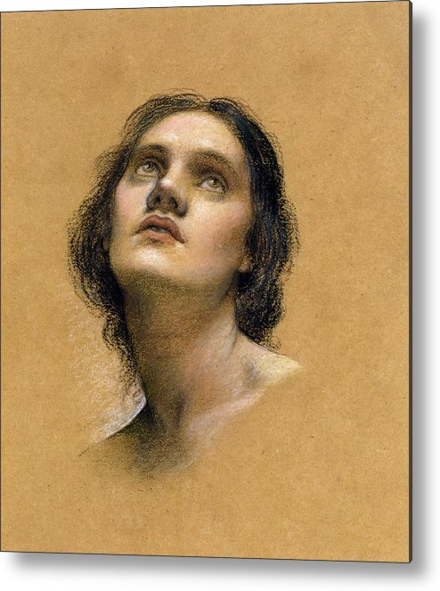 Female; Gaze; Drawing; Upturned Face Metal Print featuring the pastel Study Of A Head by Evelyn De Morgan