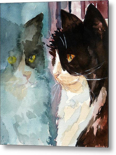 Cat Metal Print featuring the painting Who Are You by P Maure Bausch