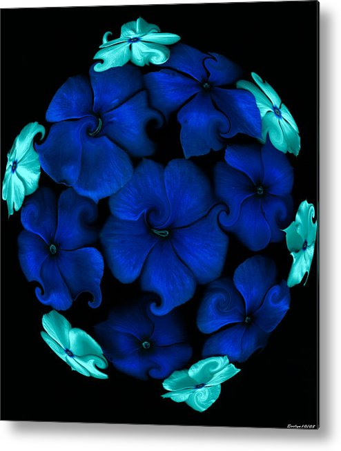 Botanical Flowers Metal Print featuring the painting Blue Vinca by Evelyn Patrick
