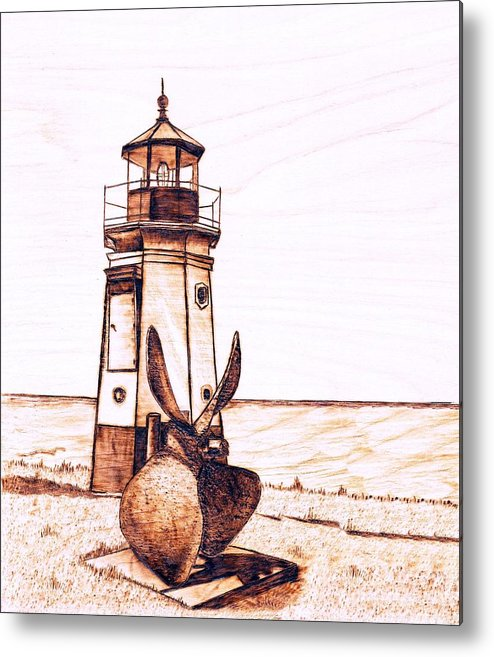 Lighthouse Metal Print featuring the pyrography Vermilion Lighthouse by Danette Smith